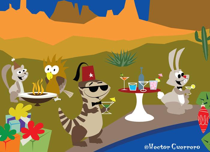 Desert gang hipster Christmas party