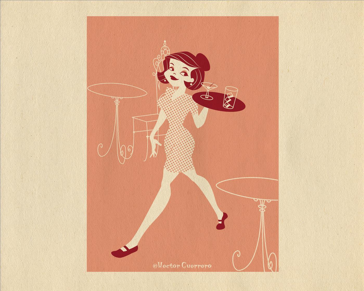 Waitress illustration